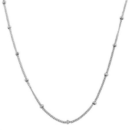 Sterling Silver Curb With Ball Chain Bracelet