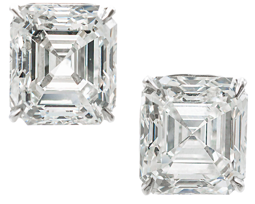 Clous d'oreilles diamant Asscher Royal