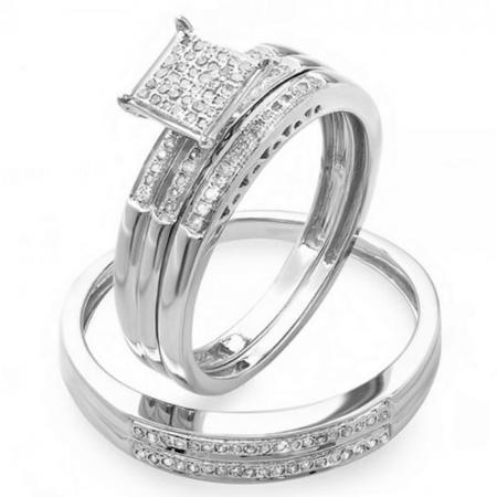 0.20 Carat (Ctw) Sterling Silver Round White Diamond Men & Women's Micro Pave Engagement Ring Trio Bridal Set