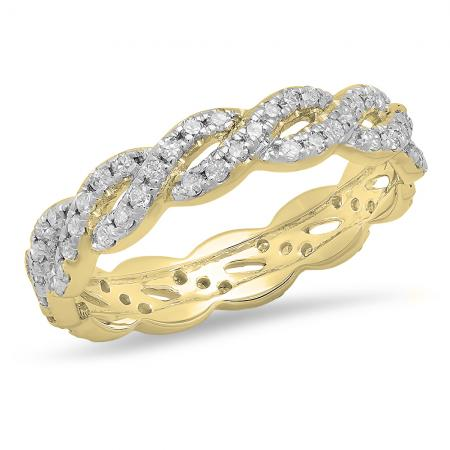 14K Yellow Gold Round Diamond Ladies Eternity Anniversary Wedding Band