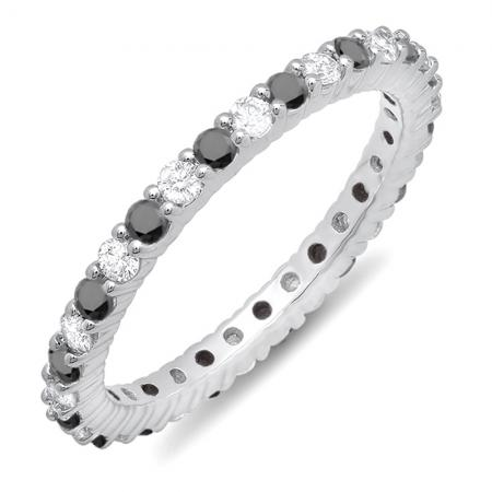 1.00 Carat 10k White Gold Round Black & White Diamond Ladies Eternity Anniversary Stackable Ring Wedding Band 1 CT