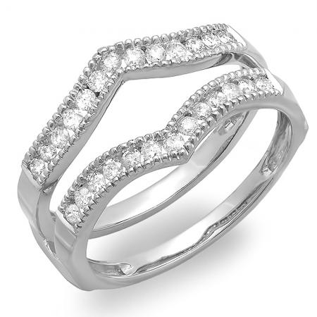 0.48 Carat (Ctw) 10K White Gold Round Diamond Ladies Anniversary Wedding Band Guard Double Ring