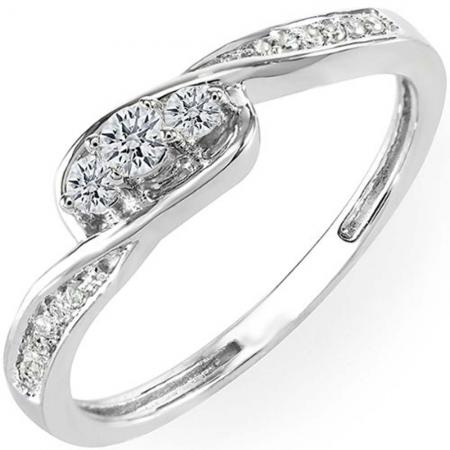 0.25 Carat (Ctw) 10k White Gold Round Diamond Ladies 3 Stone Engagement Promise Ring