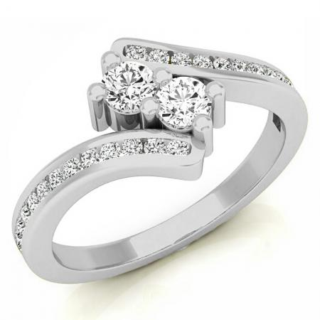 0.50 Carat (Ctw) 14K White Gold Round White Diamond Ladies Forever Together Two Stone Bypass Style Bridal Engagement Ring