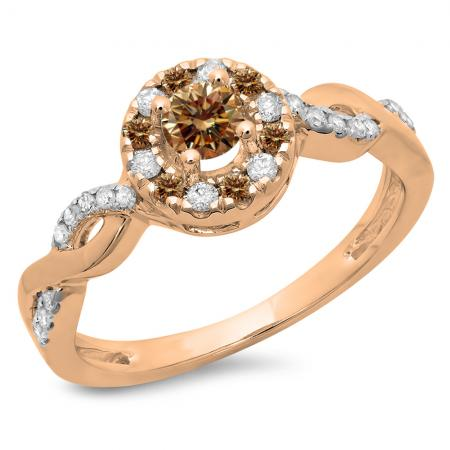 0.55 Carat (Ctw) 14K Rose Gold Round Cut Champagne & White Diamond Ladies Swirl Bridal Halo Bague de Fiançailles