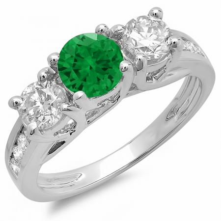 14K White Gold Round Cut Green Emerald & White Diamond Engagement Ring