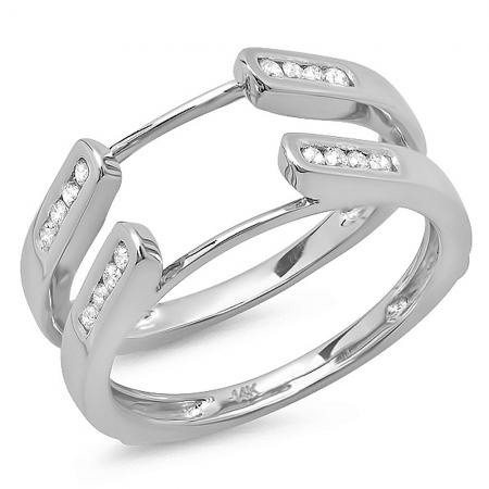 0.24 Carat (Ctw) 14K White Gold Round Diamond Ladies Anniversary Guard Double Ring Wedding Band