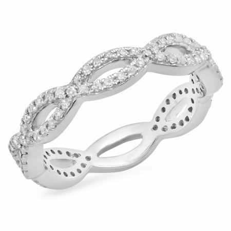 0.30 Carat (Ctw) 10K White Gold Round White Diamond Ladies Swirl Style Anniversary Wedding Eternity Band Stackable Ring