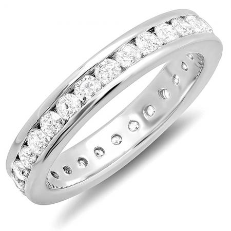 CERTIFIÉ 1.75 Carat (Ctw) 14k Or Blanc Diamant Rond Dames Éternité Empilable Anniversaire Alliance