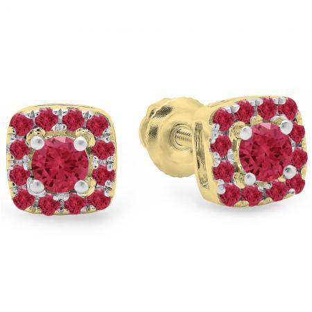 0.50 Carat (Ctw) 14K Yellow Gold Round Cut Ruby Diamond Ladies Square Frame Halo Stud Earrings