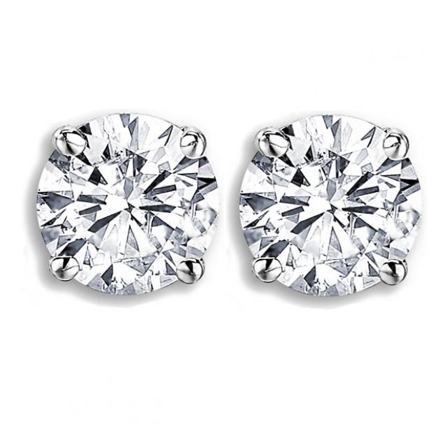 1.52 Carat (ctw) 14K White Gold Round Cut Diamond Ladies Stud Earrings
