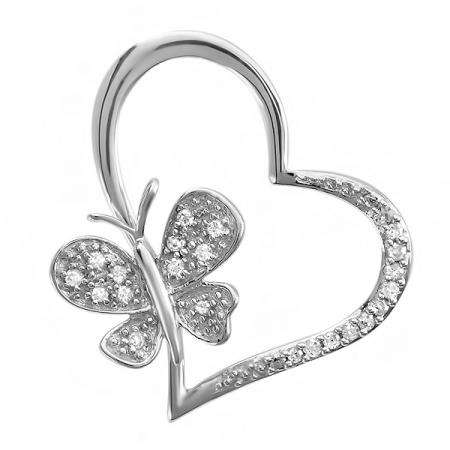 0.15 Carat (ctw) Sterling silver Round Diamond Butterfly Charm Heart Pendant