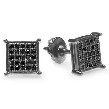 0.15 Carat (ctw) Black Rhodium Plated Sterling Silver Black Round Diamond Micro Pave Square Shape Hip Hop Iced Stud Earrings