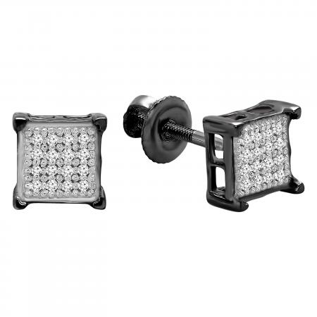 0.10 Carat (ctw) Black Rhodium Plated 14K White Gold Real Diamond V Prong Square Mens Hip Hop Iced Stud Earrings 1/10 CT