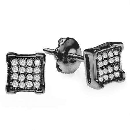 0.10 Carat (ctw) Black Rhodium Plated Sterling Silver Real Diamond V Prong Square Mens Hip Hop Iced Stud Earrings