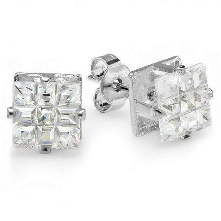 1.00 CT Clear Stud Earrings Square Invisible Cut Princess CZ 5MM Cubic Zirconia 4 Prong Setting Platinum Plated Pushback Post