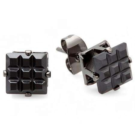 0.50 CT Black Stud Earrings Square Invisible Cut Princess CZ 4MM Cubic Zirconia 4 Prong Setting Platinum Plated Pushback Post