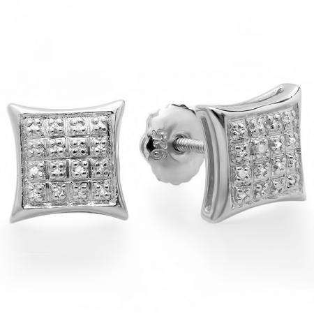 0.10 Carat (ctw) 10K White Gold Real Diamond Kite Shape Mens Hip Hop Iced Stud Earrings 1/10 CT