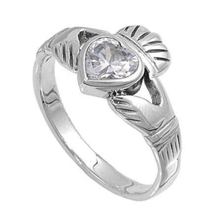 Sterling Silver Ladies Heart Shape Cubic Zirconia CZ Irish Friendship and Love Band Claddagh Ring (Available in size 6 7 8)