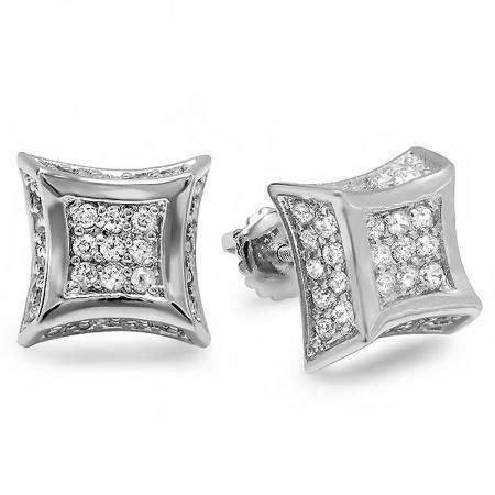 Platinum Plated CZ Cubic Zirconia Kite Shaped Hip Hop Iced Cube Stud Earrings (10.5 mm Wide x 4.5 mm High)
