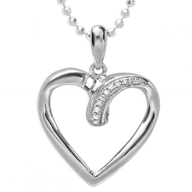 0.10 Carat (ctw) Sterling Silver White Diamond Ladies Heart Pendant 1/10 CT