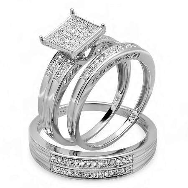 0.25 Carat (ctw) Sterling Silver Round White Diamond Men & Women