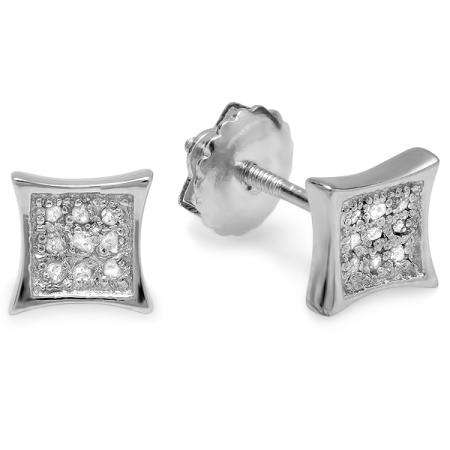 0.10 Carat (ctw) Platinum Plated Sterling Silver Round Diamond Kite Shape Mens Hip Hop Iced Stud Earrings