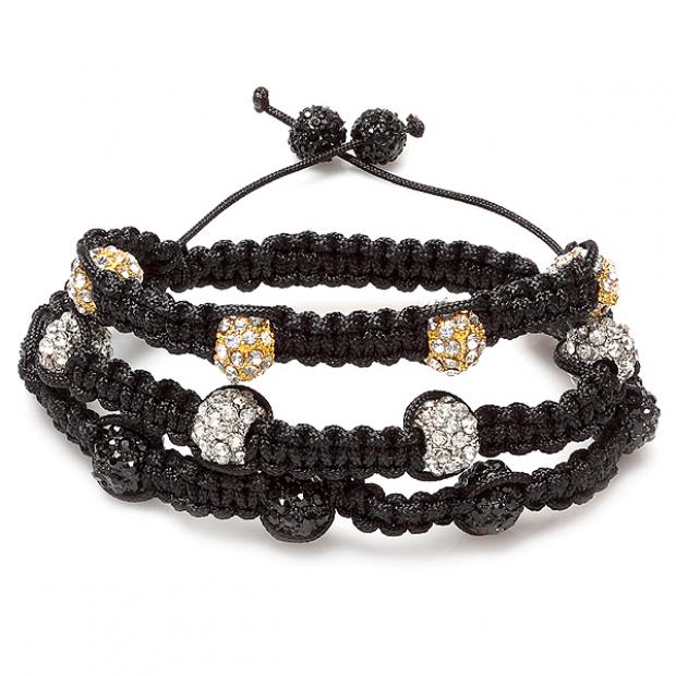 Beaded Bracelet Pave Mens Ladies Unisex Hip Hop Style 10 mm Twelve White Black Yellow Disco Ball Faceted Bead Three Row Unisex Adjustable