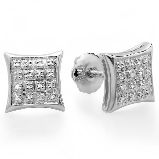 0.15 Carat (ctw) 10K White Gold Real Diamond Dome Kite Shape Mens Ladies Hip Hop Iced 9 mm Stud Earrings