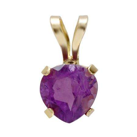 10K Yellow Gold 5mm Real Genuine Amethyst Solitaire Pear Shape Pendant