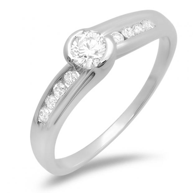 0.50 Carat (ctw) 14k White Gold Round Cut Diamond Ladies Bridal Engagement Ring