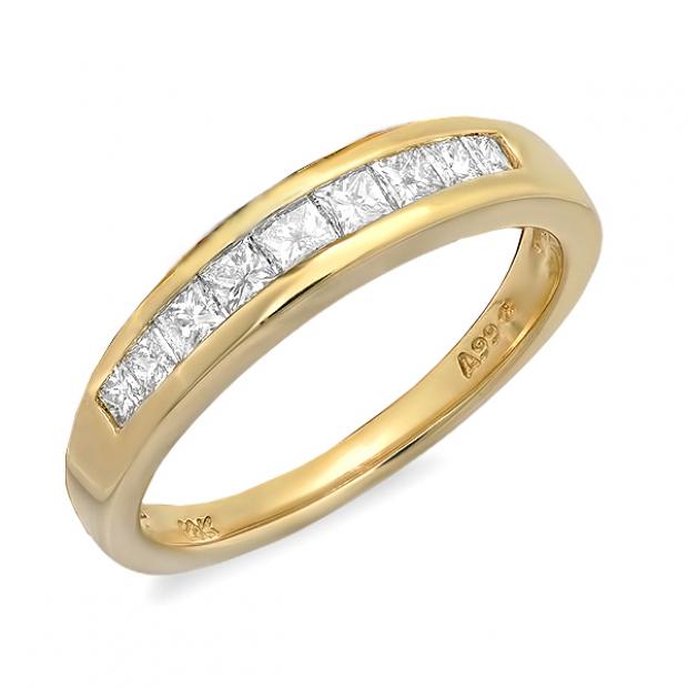 0.50 Carat (ctw) 14K Yellow Gold Princess White Diamond Anniversary Wedding Stackable Ring Band 1/2 CT