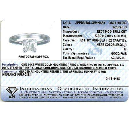 IGI Certified 1.02 Carat (ctw) 14K White Gold Real Princess Diamond Ladies Bridal Engagement Solitaire Ring 1 CT