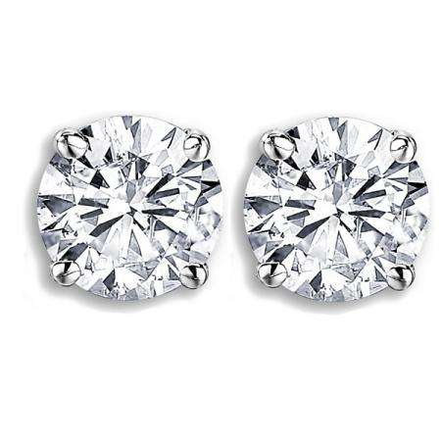 Certified 2.16 Carat (ctw) 14K White Gold Round Cut White Diamond Ladies Stud Earrings