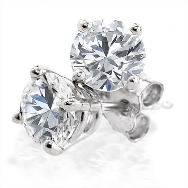 1.27 Carat (ctw) 14K White Gold Round Cut White Diamond Ladies Stud Earrings
