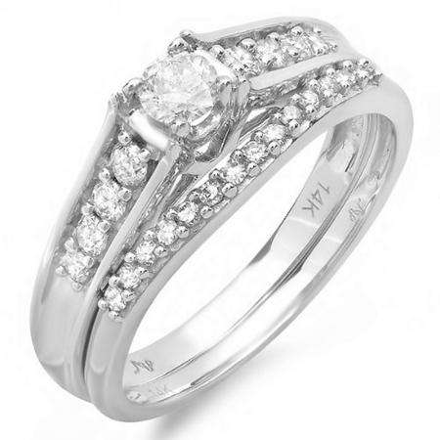 0.50 Carat (ctw) 14k White Gold Round Diamond Ladies Bridal Engagement Ring Matching Wedding Band Set