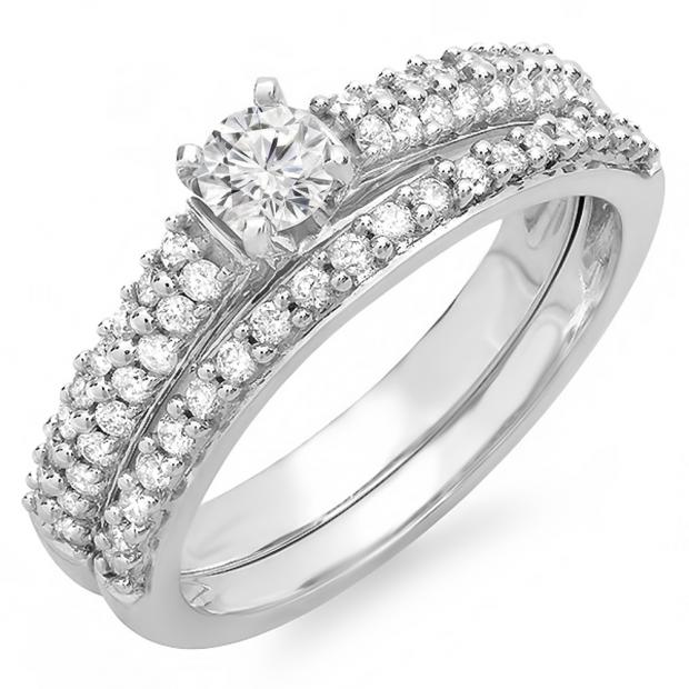 0.80 Carat (ctw) 14K White Gold Round Diamond Ladies Bridal Engagement Ring Set Matching Wedding Band