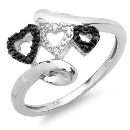 0.05 Carat (ctw) 10k White Gold Round Black and White Diamond Ladies Promise Three Hearts Love Engagement Two Tone Ring
