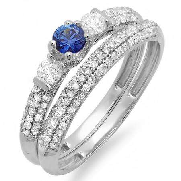 0.85 Carat (ctw) 10k White Gold Round Blue Sapphire And White Diamond 3 Stone Ladies Bridal Engagement Ring Wedding Band Set