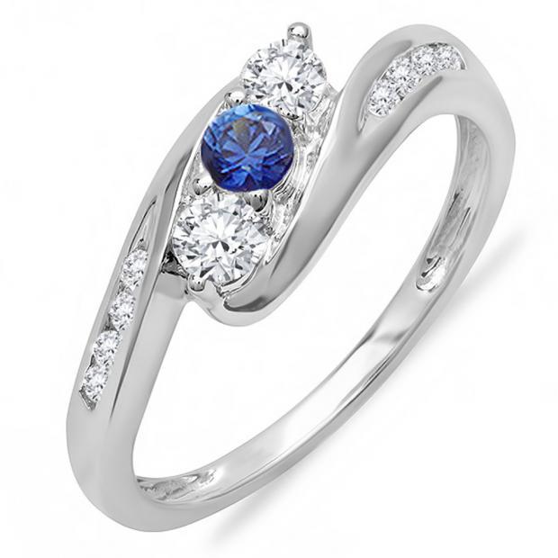 0.50 Carat (ctw) 14k White Gold Round White Diamond And Blue Sapphire Ladies Swirl Engagement 3 Stone Bridal Ring 1/2 CT