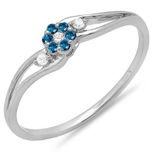 0.10 Carat (ctw) 10k White Gold Round White & Blue Diamond Ladies Bridal Swirl Split Shank Cluster Promise Ring 1/10 CT