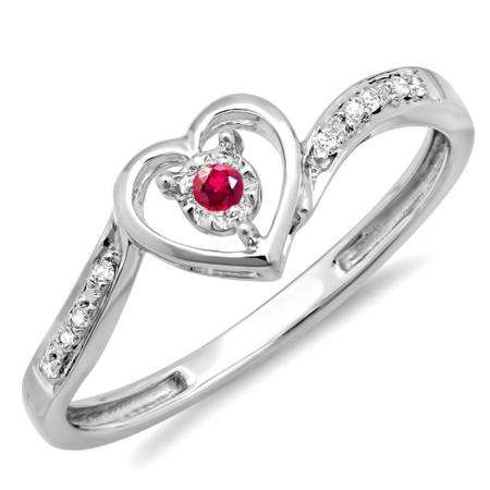 DazzlingRock 0.10 Carat (ctw) 10k White Gold Round Red Ruby And White Diamond Ladies Heart Shaped Promise Bridal Engagement Ring 1/10 CT at Sears.com