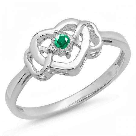 0.05 Carat (ctw) Sterling Silver Round Green Emerald Ladies Solitaire Promise Three Heart Infinity Love Engagement Ring