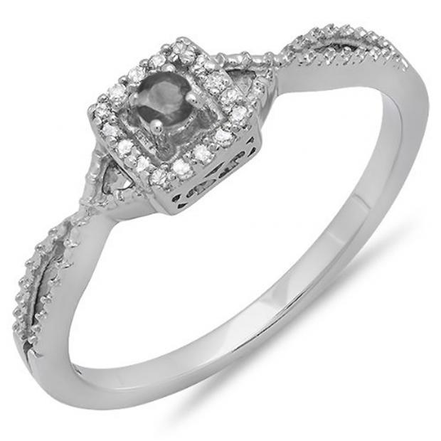 DazzlingRock 0.15 Carat (ctw) 10k White Gold Round Cut Black and White Diamond Ladies Crossover Split Shank Engagement Bridal Promise Ring at Sears.com