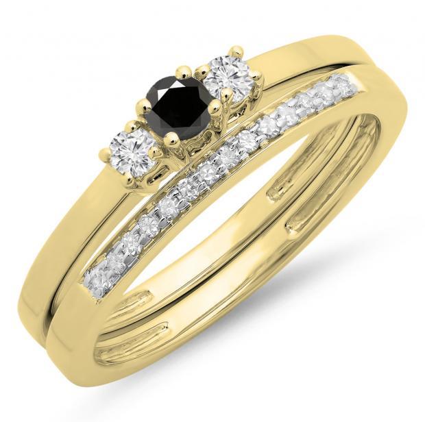 0.33 Carat (ctw) 14K Yellow Gold Round Cut White & Black Diamond Ladies Bridal Engagement 3 Stone Ring With Matching Wedding Band Set 1/3 CT