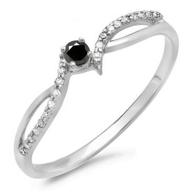 0.15 Carat (ctw) 18K White Gold Round Black & White Diamond Ladies Crossover Split Shank Bridal Promise Engagement Ring