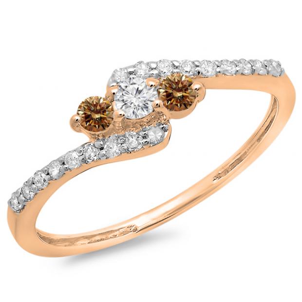 0.33 Carat (ctw) 14K Rose Gold Round Champagne & White Diamond Ladies Swirl Engagement 3 Stone Bridal Ring 1/3 CT