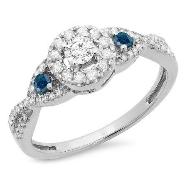 0.60 Carat (ctw) 10K White Gold Round Blue & White Diamond Ladies 3 Stone Swirl Halo Style Vintage Bridal Engagement Ring