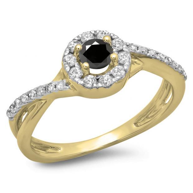 0.50 Carat (ctw) 10K Yellow Gold Round Cut Black & White Diamond Ladies Swirl Split Shank Bridal Halo Engagement Ring 1/2 CT