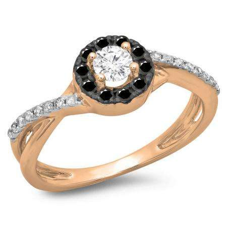 0.50 Carat (ctw) 18K Rose Gold Round Cut Black & White Diamond Ladies Swirl Split Shank Bridal Halo Engagement Ring 1/2 CT